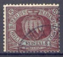 San Marino 1892 5£. (Sass.22) Usato /Used VF Firmato Sorani - Saint-Marin
