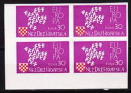 COMITÉ DE LIBERATION CROATE  1961  Vignette «EUROPA» No Dentelé  Bloc De 4  ** MNH - Croatie