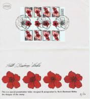 1992  SPECIAL PRESENTATION FOLDER Designer Signed Anemone Undenominated Stamp Block 8 Tete Beche - Israel