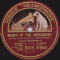 "78 Tours - DISQUE ""GRAMOPHONE"" K 5832 - Jeanette MACDONALD - MARCH OF GRENADIERS - MY DREAM-LOVER - 78 Rpm - Schellackplatten"