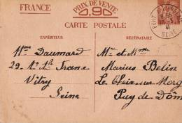 Entier Postal 90 C Iris Port à L'Anglaise 1941 - Marcophilie (Lettres)