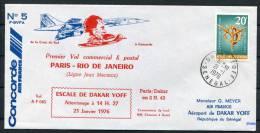 1976 Senegal Paris Rio De Janeiro Concorde 5 Aircraft Flight Cover - Concorde