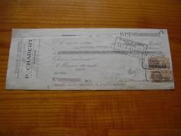 Tissus En Gros P. Chabert à Romans Drôme : Timbre Fiscal 2 X 15 C. - Facturas & Documentos Mercantiles