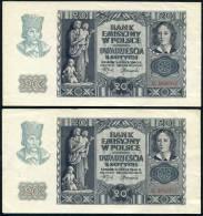 POLAND 1940 (GG) - 20 Zl (x2) 1VF+1UNC - Poland