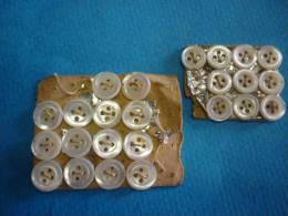 2 Plaquettes De 14 Boutons Nacre   7mm Et 8 De 5 Mm - Boutons