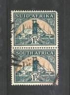 """SOUTH AFRICA UNION  1933 Used Pair Stamp(s)  """"hyphenated"""" 1 1/2d Green-bright Gold Nr. 57  #12247 - South Africa (...-1961)"""
