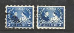 SOUTH AFRICA UNION 1948 Used Loose Stamps Jubilee George VI Nrs. 207-208 - South Africa (...-1961)