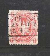 GERMANY -PREUSSEN 1867 Used  Stamp 6 Pfennig Orange Nr. 15 - Prussia