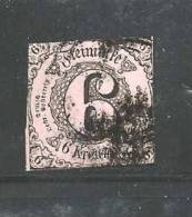 GERMANY -THURN &TAXIS 1852  Used  Stamp 6 Kreuzer Black On Red Nr. 9 - Thurn And Taxis