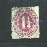GERMANY -SCHLESWIG-HOLSTEIN 1865 Used  Stamp 1 1/4 Shilling Red/lilac Nr. 14 - Schleswig-Holstein