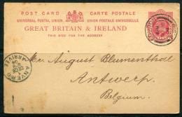 30-11-1904 - Carte Edouard VII 1p Rouge   Pour La Belgique - Interi Postali