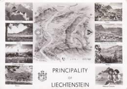 CPSM GEOGRAPHIQUE PRINCIPALITY OF LIECHTENSTEIN MULTI VUES CARTE 56 MANQUE TIMBRE - Carte Geografiche