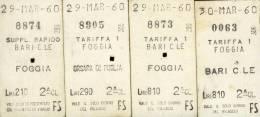 ANNO  1960   Bari  Foggia  FERROVIE  DELLO STATO  TRENO LOTTO 4 BIGLIETTI CARTONATI DOPPI - Chemins De Fer