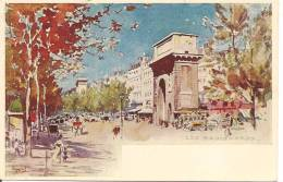 PARIS -  Les Boulevards - Porte Saint-Denis Par L´illustrateur VIGNAL (belle Carte à Petit Prix Fixe) - Arrondissement: 10