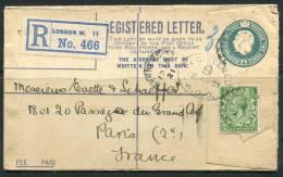 12-04-1921 - Enveloppe Recommandée Renforcée Georges VI 4p Vert (+0,5p) Pour La France - Stamped Stationery, Airletters & Aerogrammes