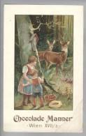 Motiv Schockolage Chocolade Cacao  Manner Wien Werbekarte ~1900 - Advertising