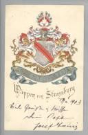 Motiv Heraldik Wappen Strassburg 1909-02-17 Prägelitho Felix Luib - Généalogie