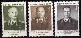 (12495).Russie 1977 Y&t N°4372/74**.  Maréchaux De L´Union Soviétique, Koniev, Sokolovski, Meretskov. - 1923-1991 URSS