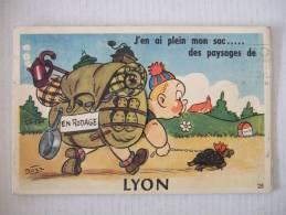 Carte Humoristique à Dépliant  10 Vues LYON  1953 - Lyon