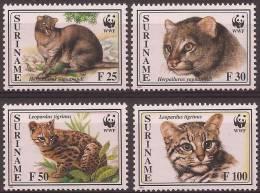 SURINAME 1995 Y&T 1356 à 1359 Timbres Neufs ** Le Chat-tigre Américain & Le Jaguarondi - WWF - Big Cats (cats Of Prey)