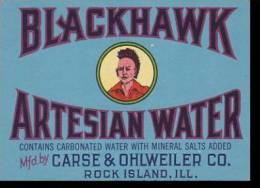 Advertising Label Carse & Ohlwender Company Rock Island Illinois Blackhawk Artesian Water - Unclassified
