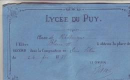 LYCEE DU PUY  Elève BLANC - Diplômes & Bulletins Scolaires