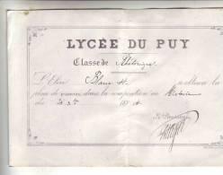 LYCEE DU PUY  Elève BLANC H. - Diplômes & Bulletins Scolaires