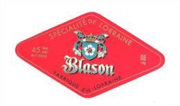 Ancienne étiquette Fromage  Spécialité De Lorraine Blason 45%mg Fabriqué En Lorraine 88 N - Fromage