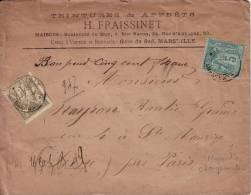SAGE-MARSEILLE CHARGEMENT 25-7-1884 - AFFRANCHISSEMENT A 1F05 - DESCRIPTIF DE CHARGEMENT FAIBLE -VALEUR 500F - Postmark Collection (Covers)