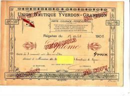 Diplôme Régates 17 Août 1902 Yverdon Grandson Jura Lac Suisse Aviron 1 Rameur Chronomètre Club Nautique Lyon Plus Photo - Aviron