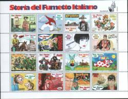 """San Marino 1997 Foglietto """"Storia Fumetto Italiano"""" (Italian Comics) 16v  ** MNH - Unused Stamps"""
