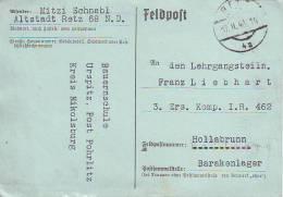 1014j: Feldpost 17.2.40 Retz (Ostmark) Bauernschule - Landwirtschaft