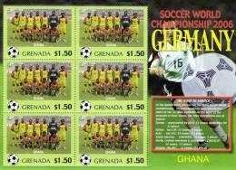 Grenada 2006 Block Sheetlet Of 6 MNH, Team Ghana, Soccer World Championship Germany