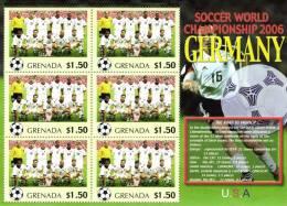 Grenada 2006 Block Sheetlet Of 6 MNH, Team USA, Soccer World Championship Germany, United States Of America, Etats-Unies