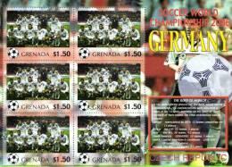 Grenada 2006 Block Sheetlet Of 6 MNH, Team Czech Republic, Soccer World Championship Germany, Tsjechie