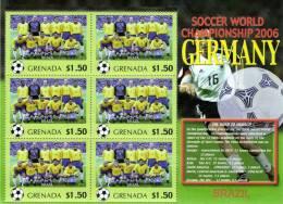 Grenada 2006 Block Sheetlet Of 6 MNH, Team Brazil, Soccer World Championship Germany, Brasil