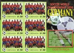Grenada 2006 Block Sheetlet Of 6 MNH, Team Costa Rica, Soccer World Championship Germany