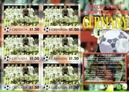 Grenada 2006 Block Sheetlet Of 6 MNH, Team Poland, Soccer World Championship Germany, Polska Pologne Polen