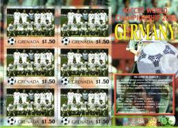 Grenada 2006 Block Sheetlet Of 6 MNH, Team Serbia & Montenegro, Soccer World Championship Germany