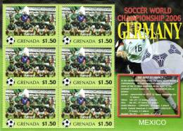 Grenada 2006 Block Sheetlet Of 6 MNH, Team Mexico, Soccer World Championship Germany, Mexique