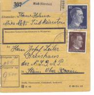 """Österreich, Paketkarte  Deutsches Reich """"Ostmark"""" Mieß (Kärnten) An Ein Kreishaus Der NSDAP In Stain - 1918-1945 1. Republik"""