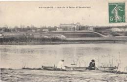 91 RIS ORANGIS Vue Sur Le SANATORIUM Hommes En BARQUE Sur Les Bords De La SEINE 1908 - Ris Orangis