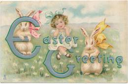 Easter Greeting - Pretty Little Girl, Bunny Rabbits With Ribbons -  Tuck, EASTER FROLIC  Series, No. 755, Sent 1913 - Pasqua