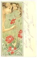 """Raphaël Kirchner ? - Femme Dans Un Décor Floral Art-Nouveau - """"les Coquelicots""""CPA En Très Bel Etat - (voir 2 Scans). - Kirchner, Raphael"""