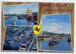 Allemagne--STUTTGART  NECKARHAFEN-- Vues Diverses ( Péniches,blason) Cpsm  10 X 15 N° 80  éd  Zobel - Stuttgart