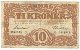 Denmark 10 Kronen 1941 - Danimarca