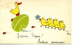 Illustrateur RENÉ - Joyeuses Pâques, Souhaits Printaniers - Poussin, Caneton, Coccinelle - Easter