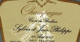 """Etiquette  Champagne    Elaboré Par Château-Malakoff -  Cuvée Du Bonheur  """"Sylvia & Jean-Philippe"""" - Couples"""