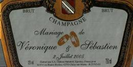 """Etiquette  Champagne    Elaboré Par Château-Malakoff -  Mariage De """"Véronique & Sébastien"""" - Coppie"""