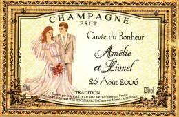 """Etiquette  Champagne    Elaboré Par Château-Malakoff - Cuvée Du Bonheur """"Amélie & Lionel"""" (Couple) - Coppie"""